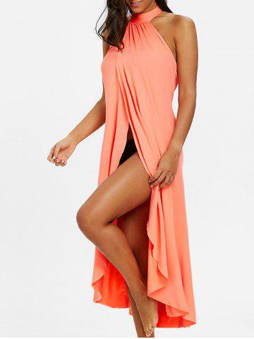 Cheap Backless Halter Slit Beach Cover-up Dress