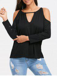 Long Sleeve Cold Shoulder Lace Up Back T-shirt -