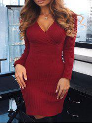 Plunging Neck Ribbed Bodycon Dress -