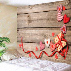 Valentine's Day Hearts Gift Wood Grain Wall Tapestry -
