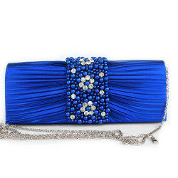 Pleated Rhinestone Beading Evening Bag -