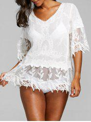 Crochet Trim V Neck Flare Sleeve Cover Up -