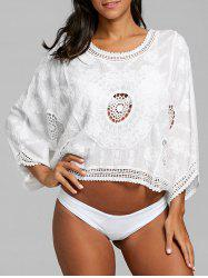 Crochet Floral Jacquard Pullover Cover Up Top -