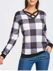 Plaid Criss Cross Long Sleeve Top -
