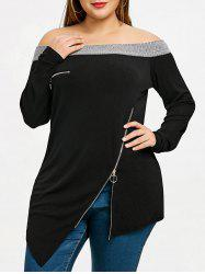 Plus Size Inclined Zip Asymmetric Top -