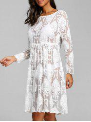 Arab Jacquard High Waist Lace Cover Up Dress -