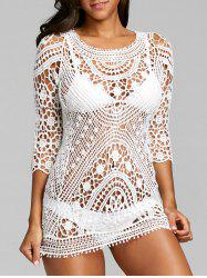 Hollow Out Flower Crochet Lace Cover Up -