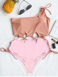Lace-up Two Tone One Shoulder Swimsuit -