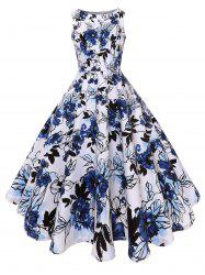 Floral Vintage Fit and Flare Midi Dress -