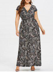 Plunging Smocked Plus Size Maxi Dress -