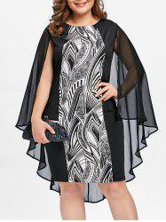 Plus Size Print Sheath Cape Dress - Black - Xl