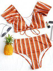 Striped Plunge Neck Bikini Set -