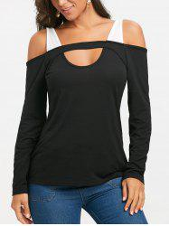 Cut Out Cold Shoulder Long Sleeve T-shirt -