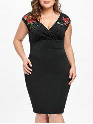 Plus Size Embroidery Slim Surplice Dress -