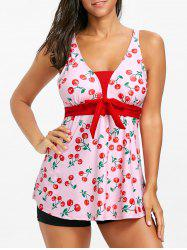 Cherry Print Plunge Neck Tankini Swimsuit -