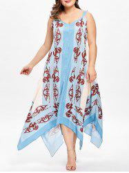 Plus Size V Neck Bandana Floral Handkerchief Dress -