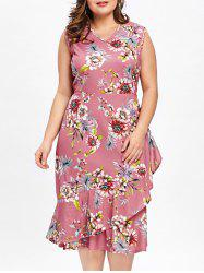 Plus Size Sleeveless Ruffle Overlap Hawaiian Dress -
