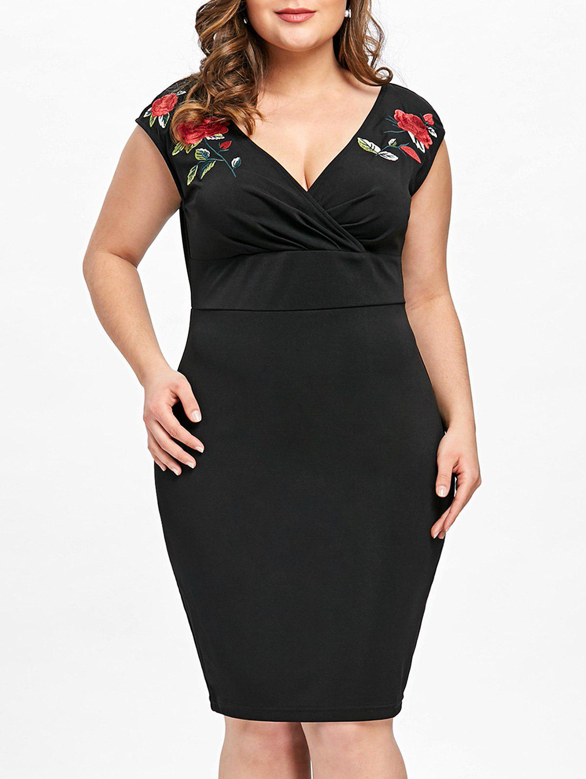 Chic Plus Size Embroidery Slim Surplice Dress