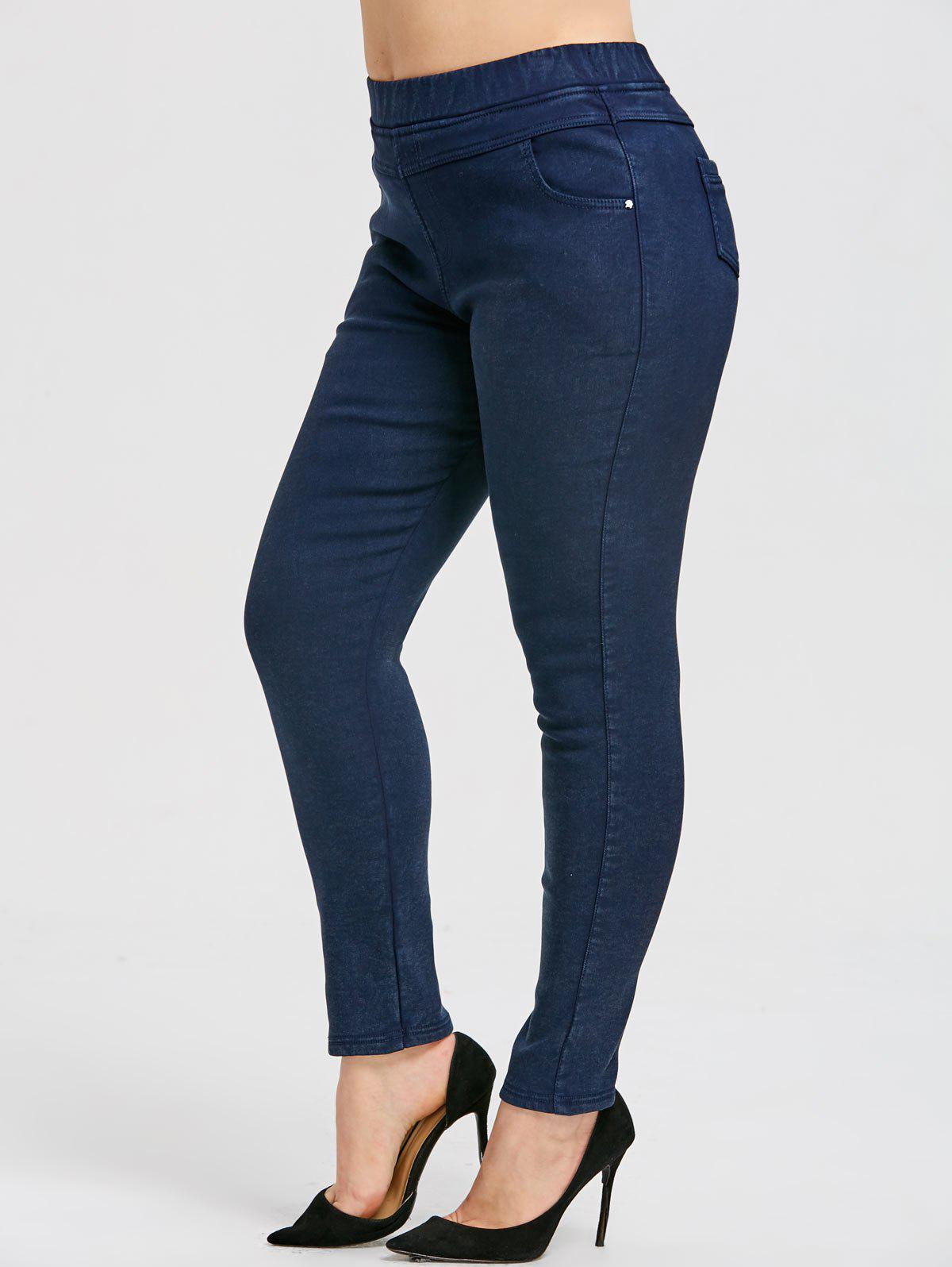 Chic Elastic Waist Plus Size  Fleece Lined Jeans