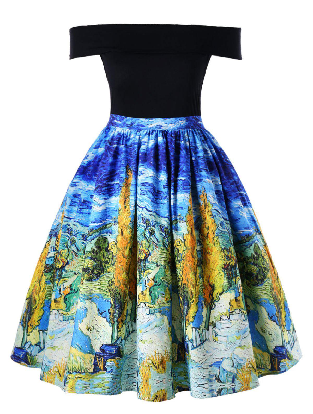 Outfit Plus Size Oil Painting Retro Swing Dress
