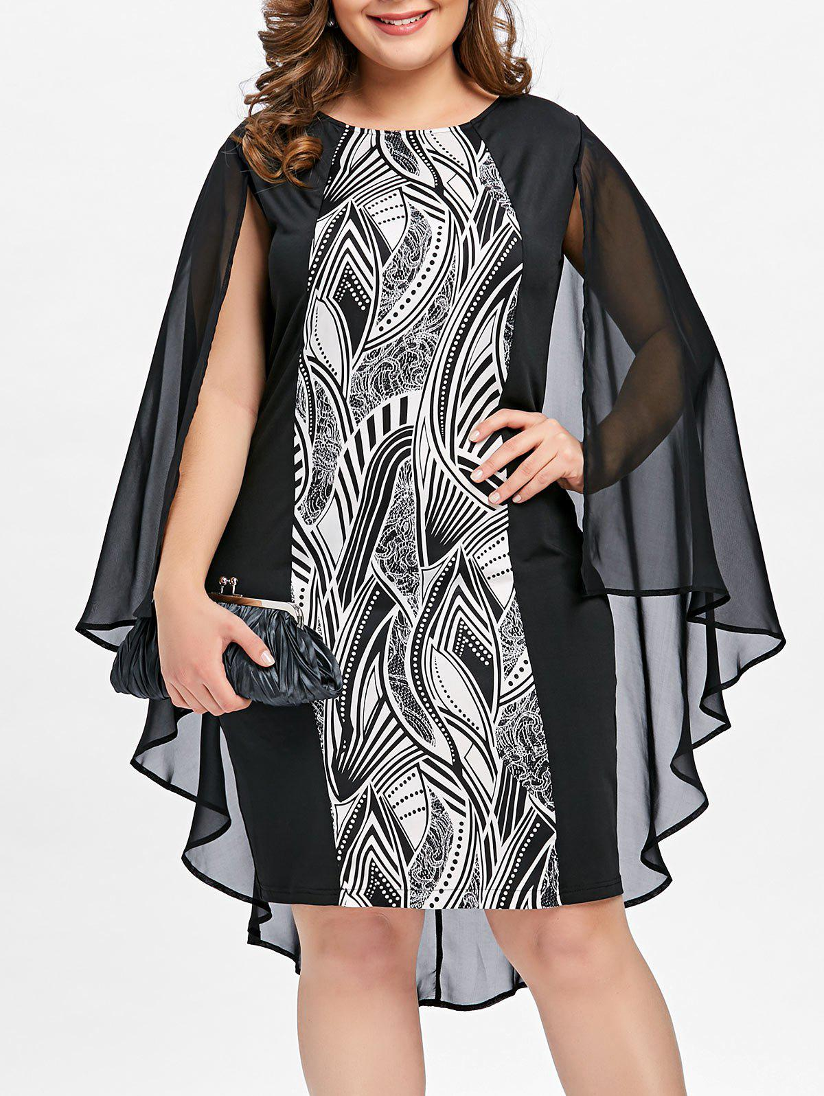 Discount Plus Size Print Sheath Cape Dress