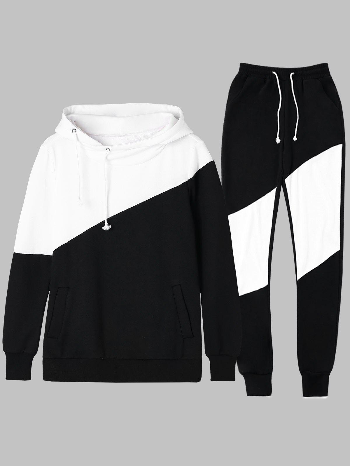Sale Two Tone Drawstring Hoodie and Sweatpants