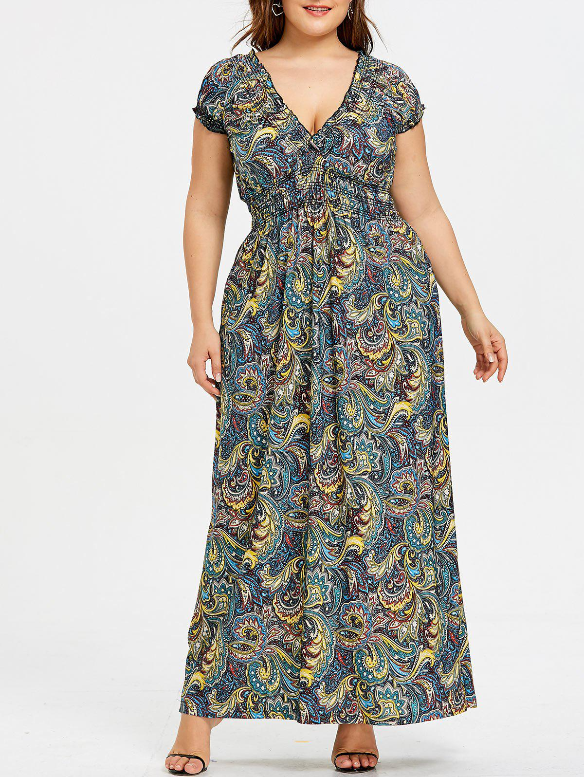 Robe Smockée à Taille Empire Grande Taille