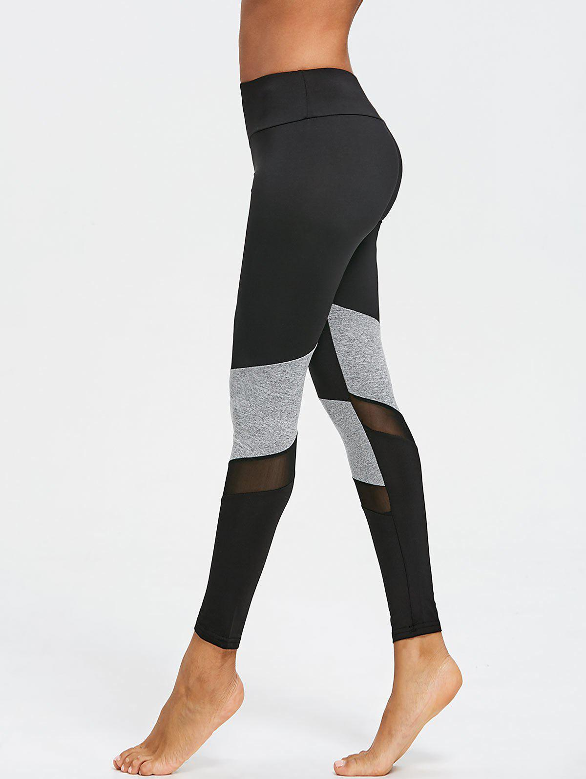 Discount Mesh Panel Two Tone Capri Leggings