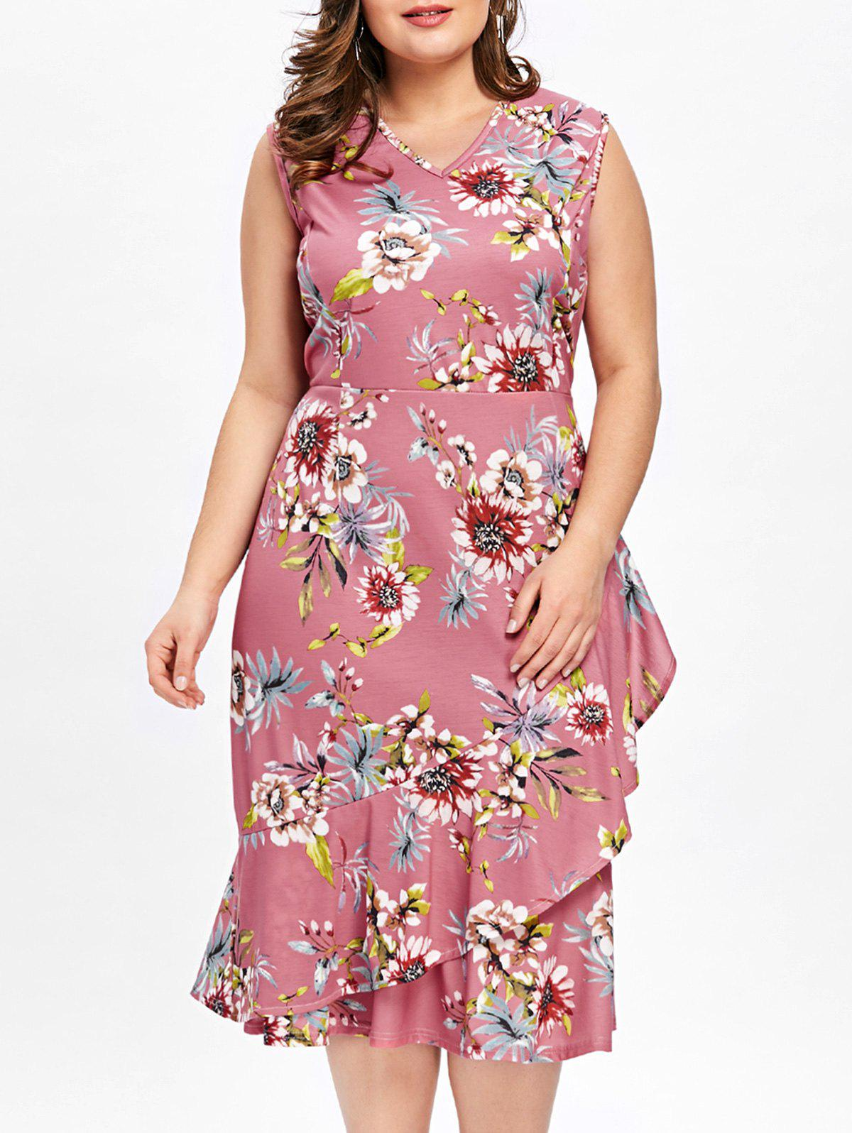 Latest Plus Size Sleeveless Ruffle Overlap Hawaiian Dress