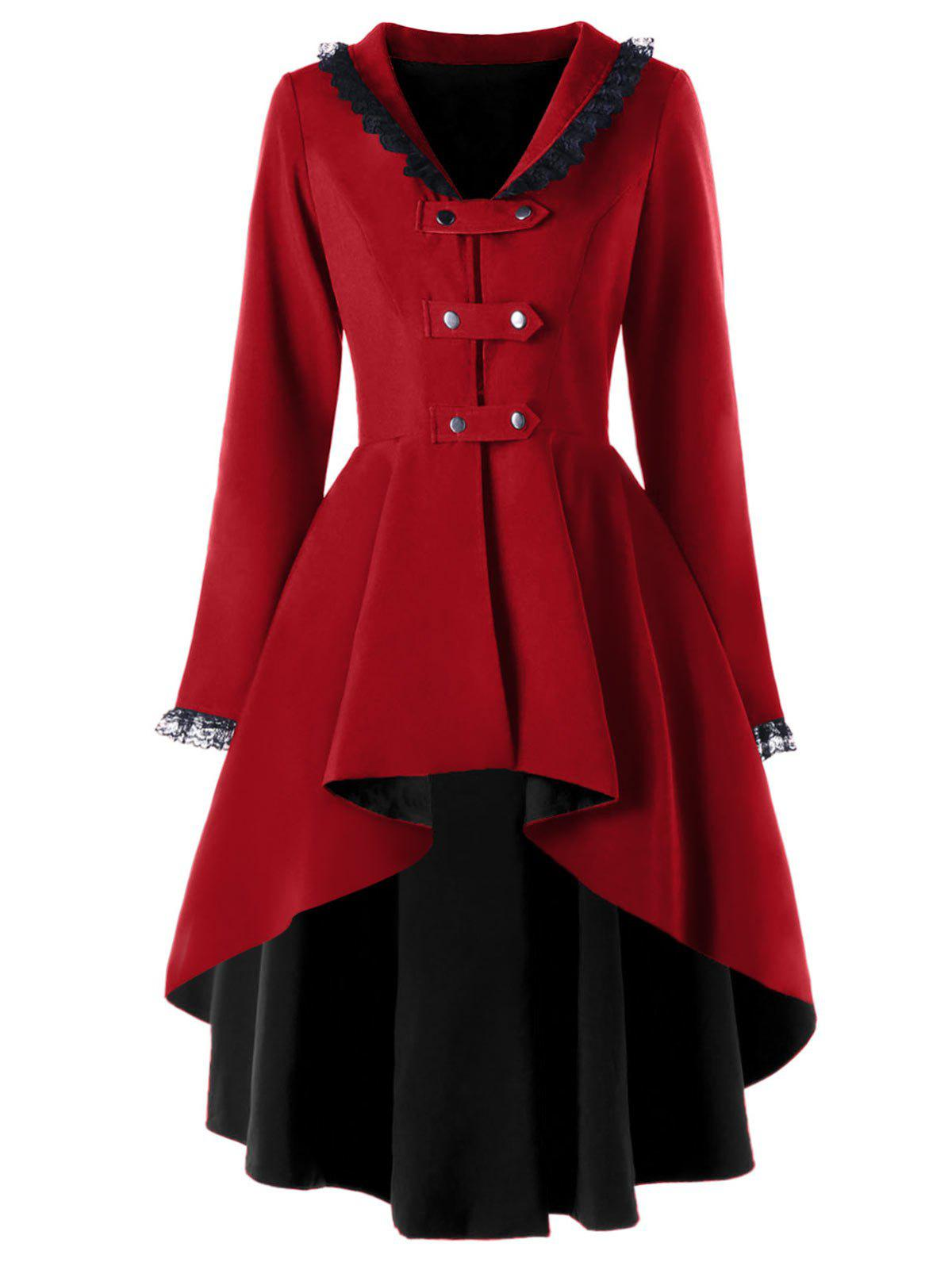 Trendy High Low Lace Trimmed Gothic Coat