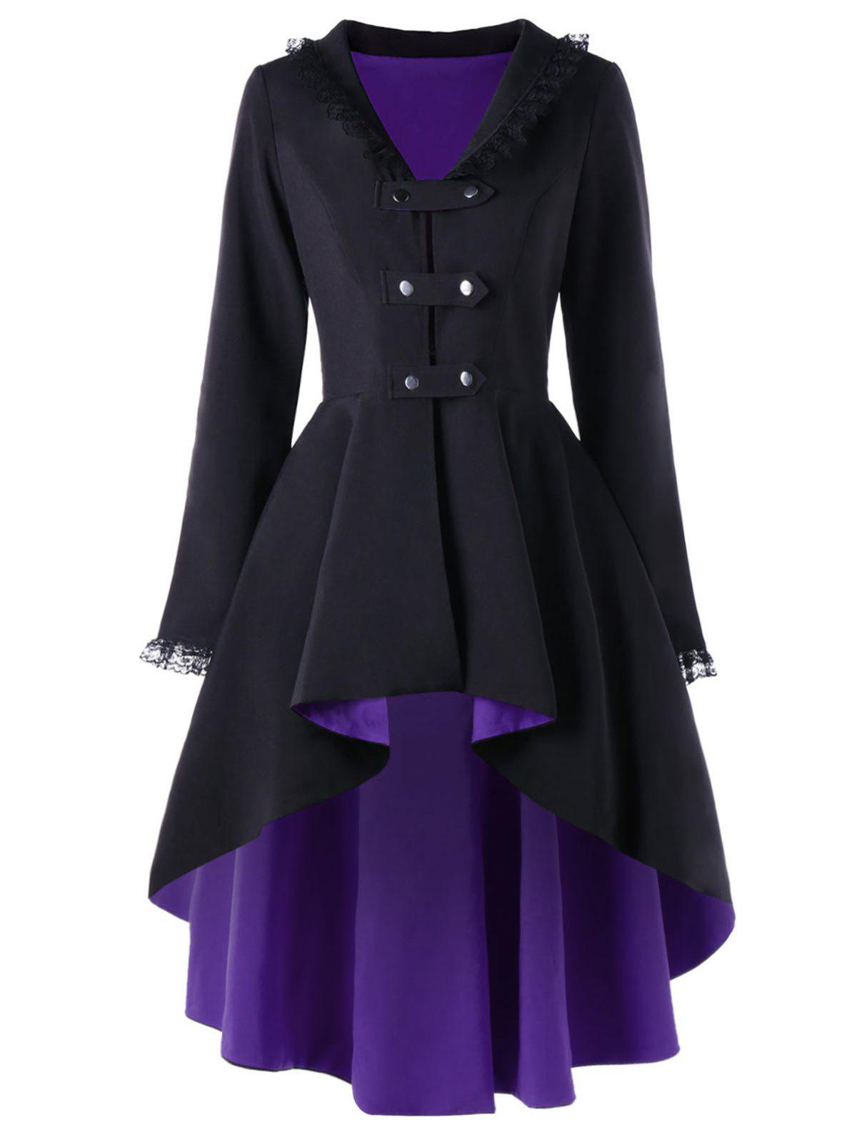 Fancy High Low Lace Trimmed Gothic Coat