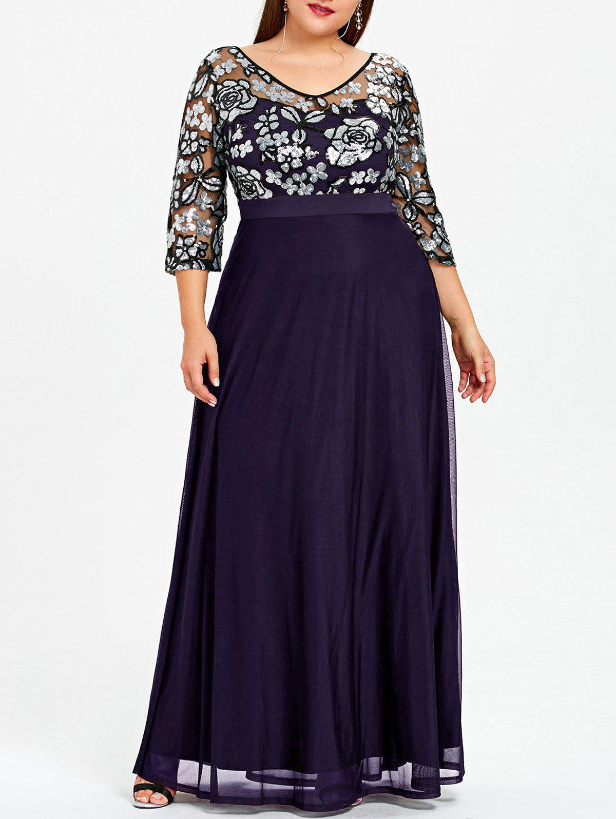 Outfits Plus Size Floral Sequined Maxi Prom Dress