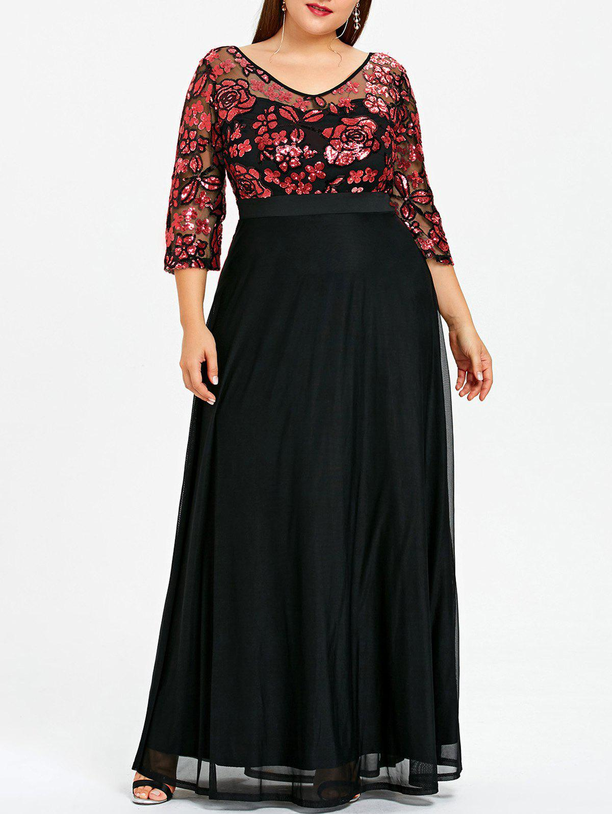 Sale Plus Size Floral Sequined Maxi Prom Dress