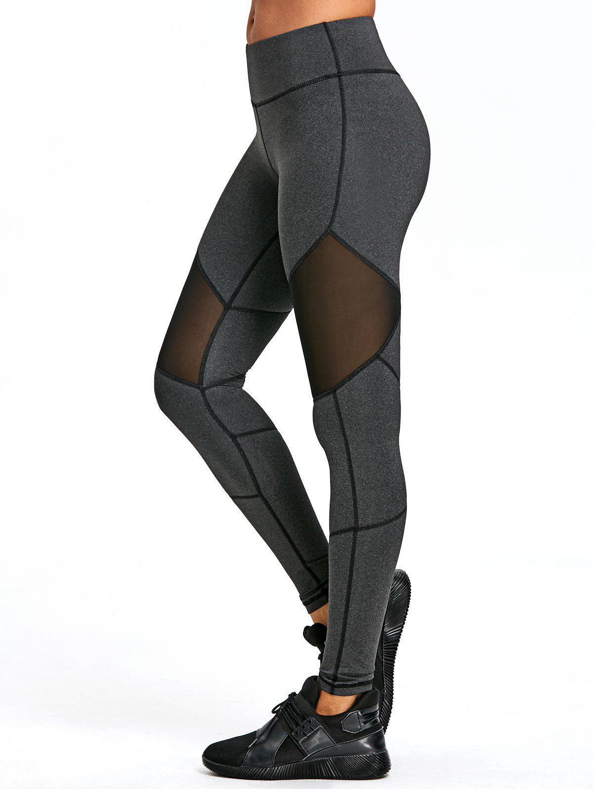 Affordable Mesh Insert Exposed Seam Leggings