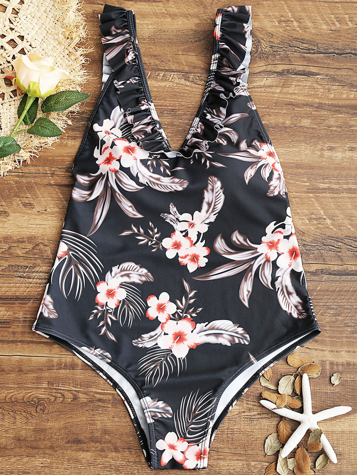 Best Floral Ruffles V Neck One Piece Swimsuit