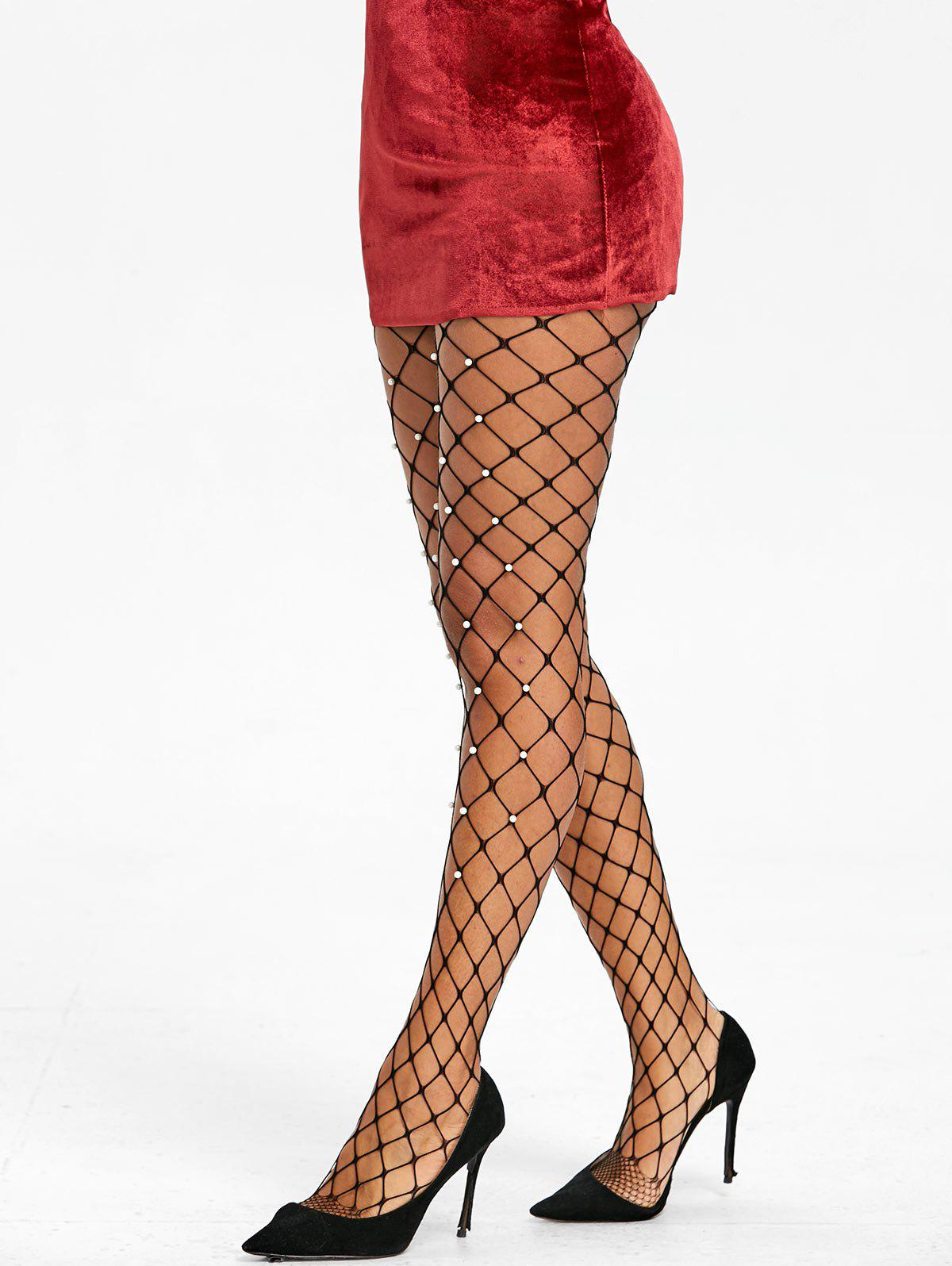 Shops Faux Pearl Big Fishnet Pantyhose