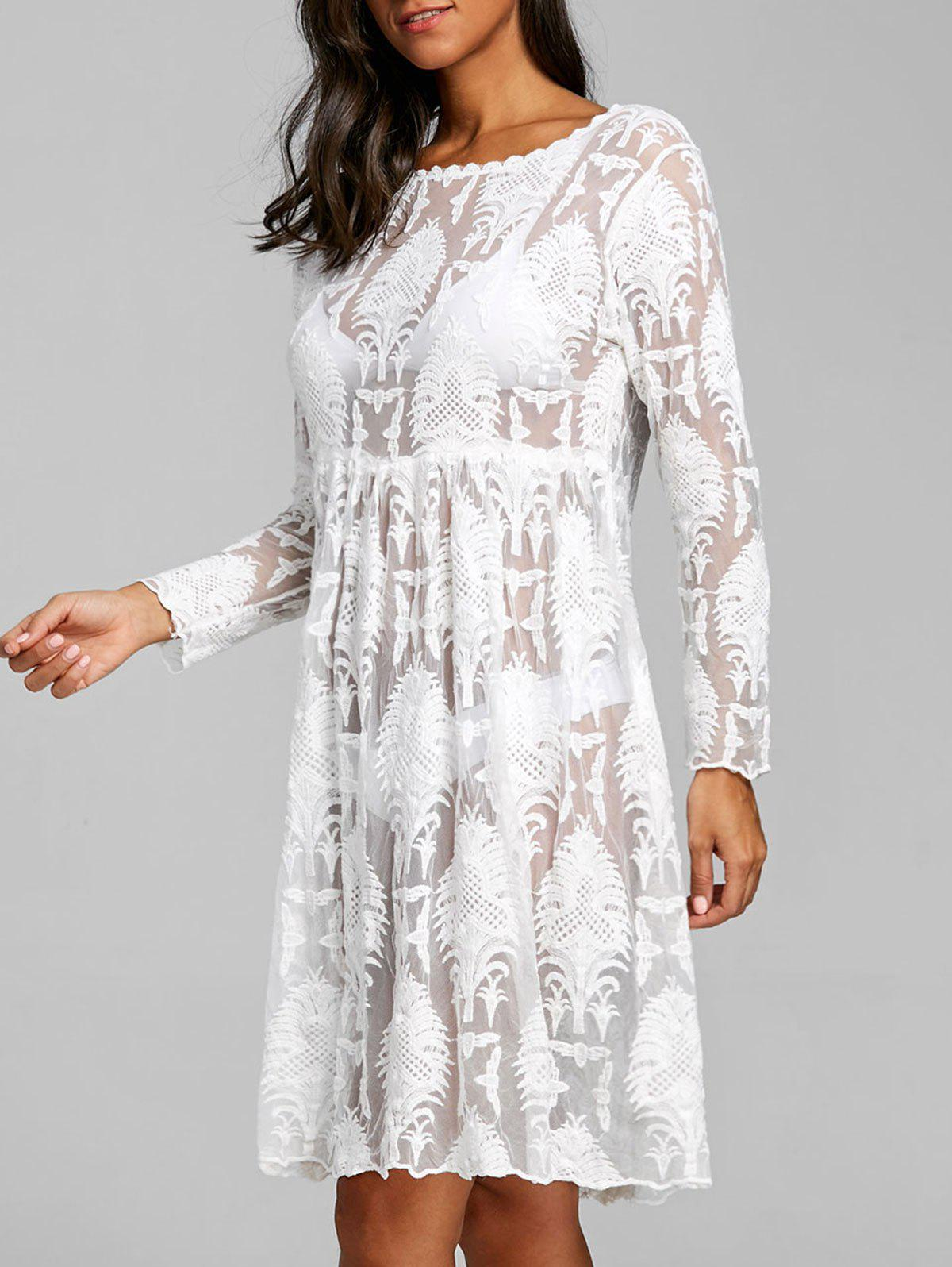 New Arab Jacquard High Waist Lace Cover Up Dress