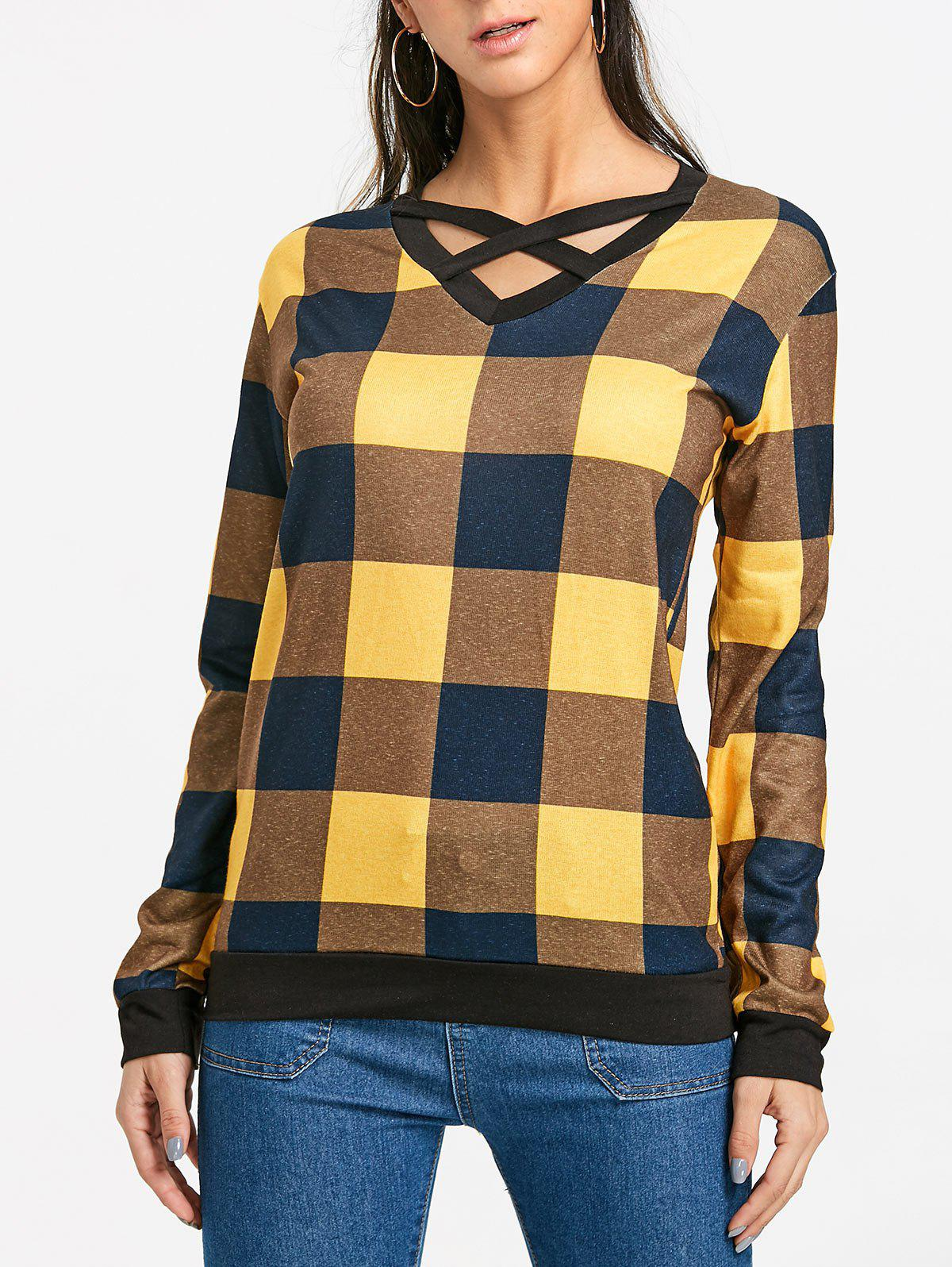 Chic Plaid Criss Cross Long Sleeve Top