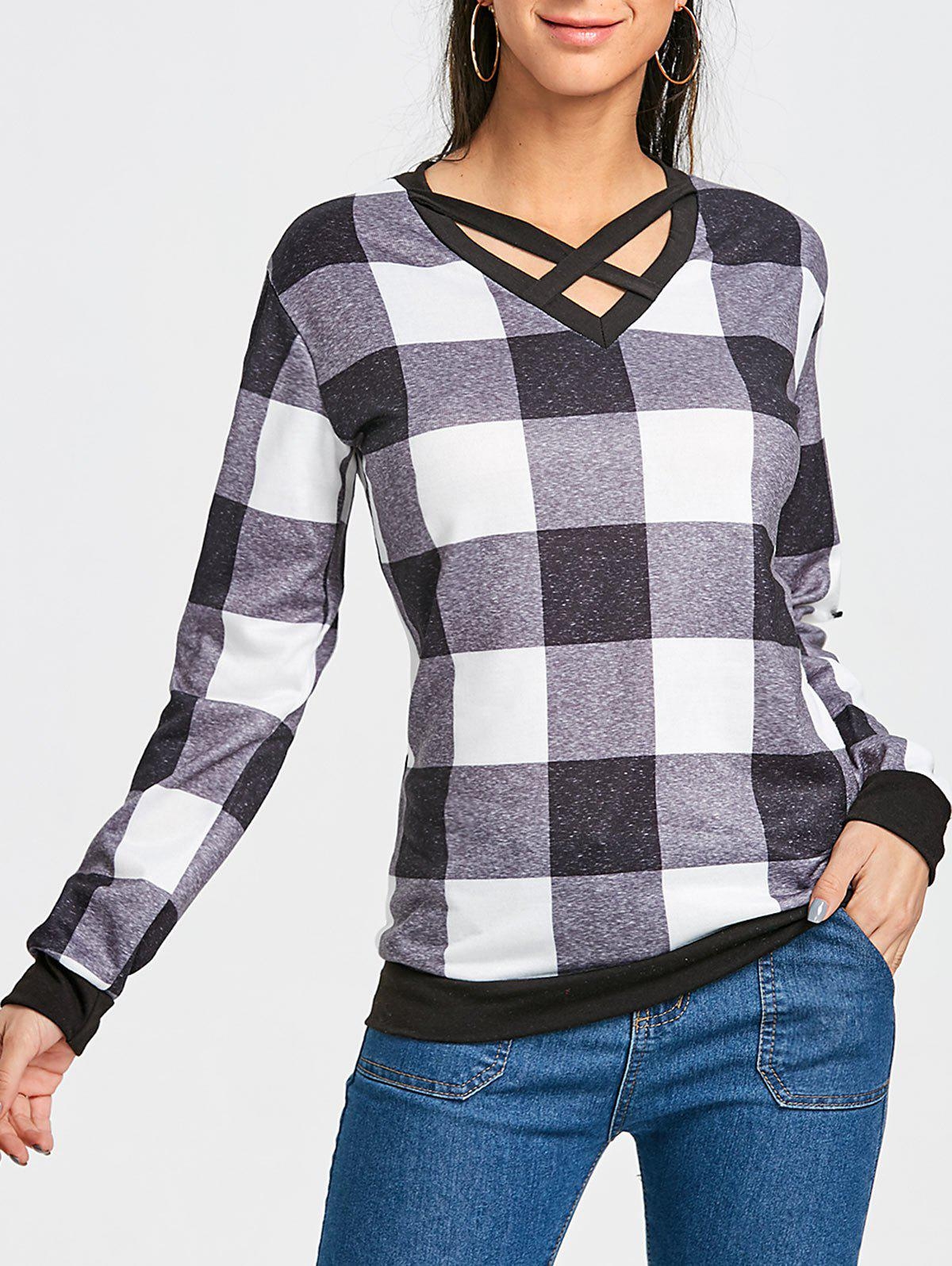 Outfit Plaid Criss Cross Long Sleeve Top