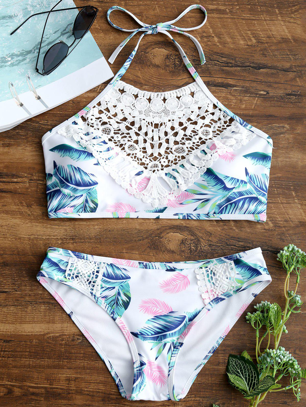 Fancy Leaves Print Lace Appliques Bikini Set