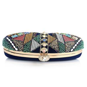 Crystal Beading Faux Pearl Clutch -