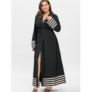 Robe Longue à Rayures Contrastantes Grande Taille -