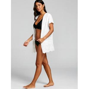 Embroidered Collarless Tunic Beach Cover Up -
