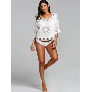 Openwork Batwing Sleeve Beach Cover Up -