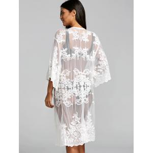 Embroidered Sheer Lace Kimono Cover Up -