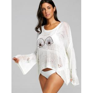 Seashell Embroidery Openwork Crochet Cover Up Top -