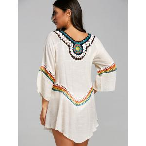 Crochet Panel Tunic Asymmetrical Cover Up Top -