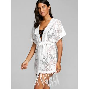 Crochet Open Front Fringed Cover Up Top -