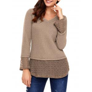 V Neck Crochet Trimmed Knit Top -