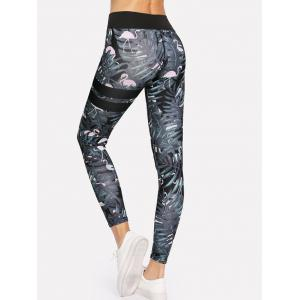 Tropical Print Skinny High Waisted Yoga Leggings -